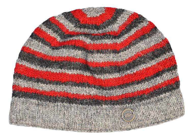 NAYA pure wool - random stripe beanie - natural/red