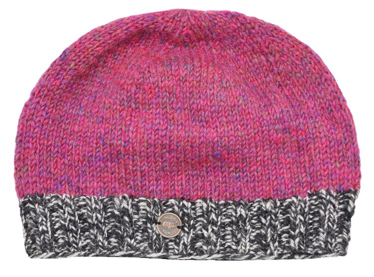 Half fleece lined - Heather mix - contrast edge - beanie - pink mix
