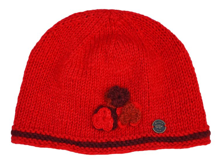Half fleece lined - three flower beanie - pure wool  - Bright red