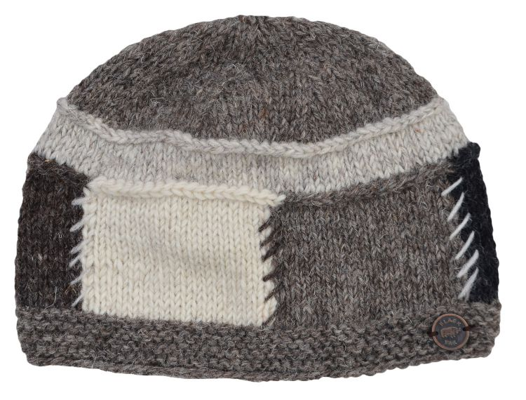 Pure wool - large squares beanie - Natural greys