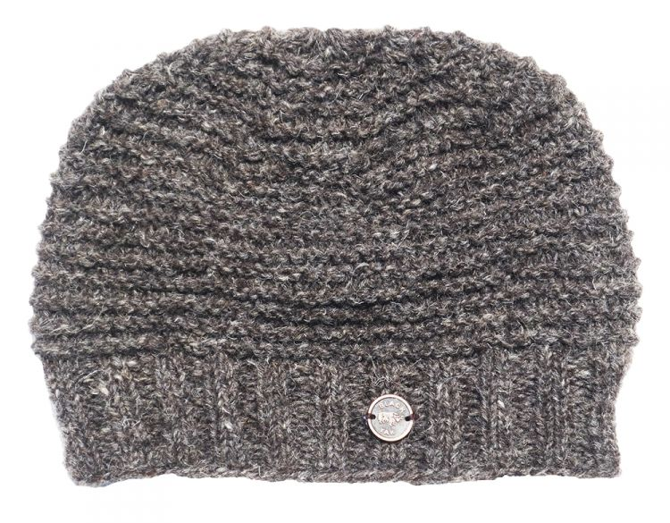 Half fleece lined - reverse ridge beanie - Marl Brown