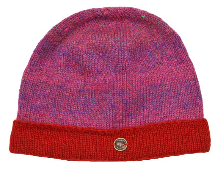 pure wool - heather turn-up beanie - pink