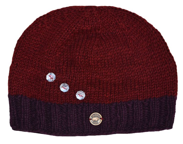 half fleece lined - sparkle border beanie - Truffle