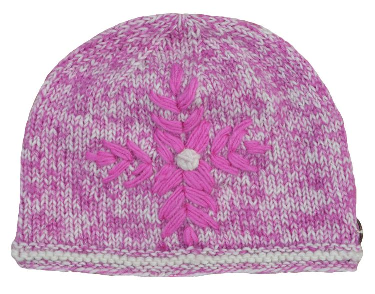 fine wool mix - embroidered beanie - Shell Pink
