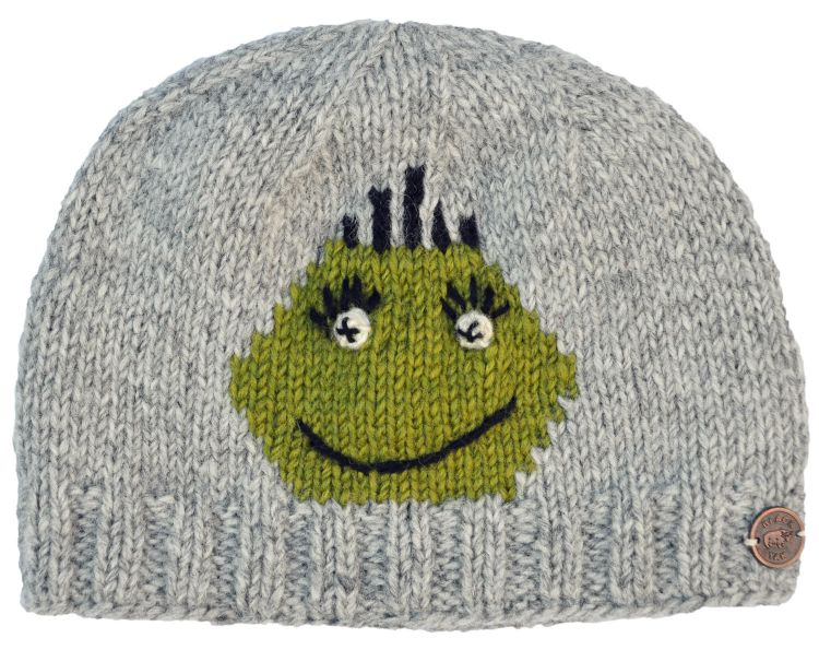 Face beanie - pure wool - hand knitted - fleece lining - Gemma