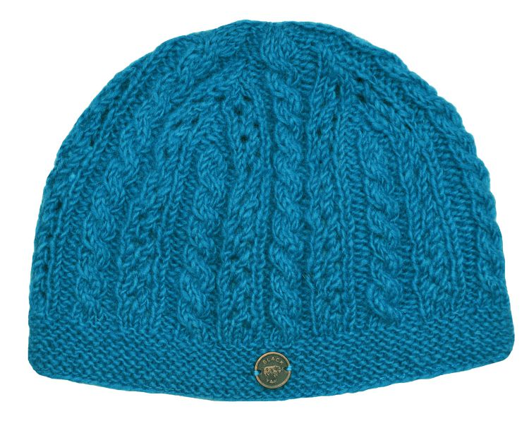 hand knit - lace cable beanie - turquoise