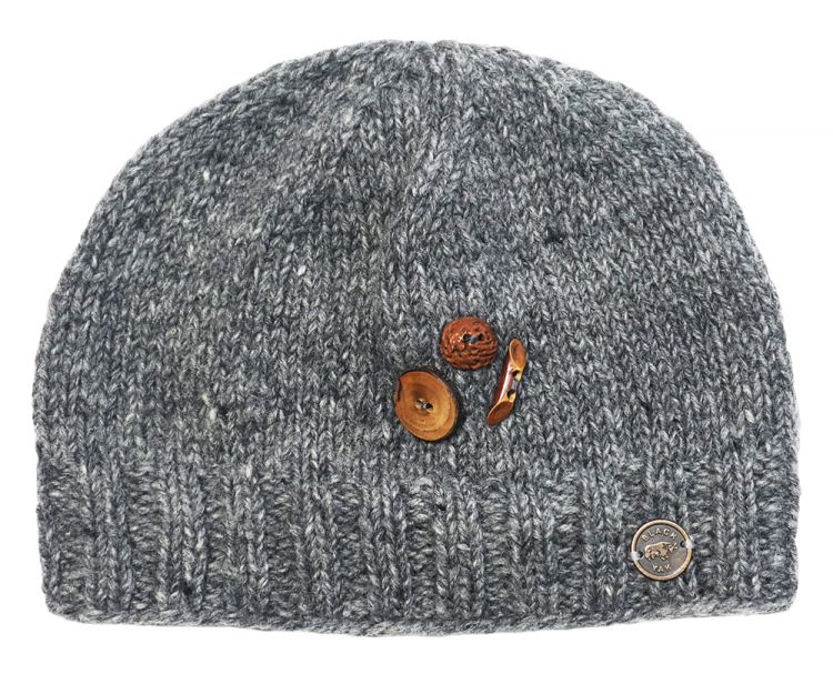 Fruit button beanie - pure wool - fleece lined - mid grey