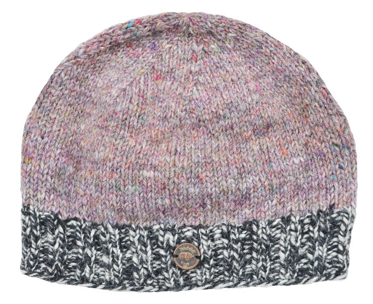 Half fleece lined - Heather mix - contrast edge - beanie - Pale mix