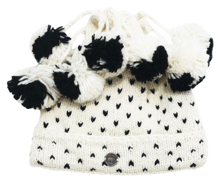 pure wool - seven bobble tick hat - White