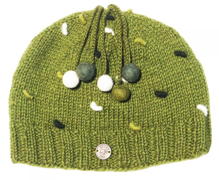 Half fleece lined - pure wool - french knot beanie - Moss Green