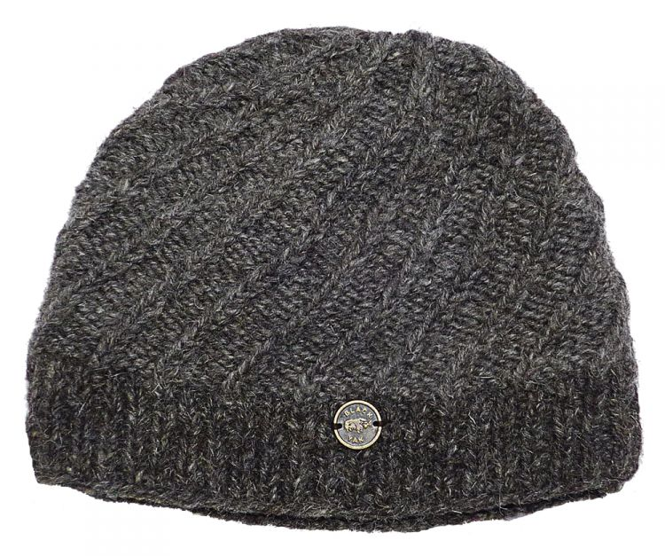 Pure wool - half fleece lined - border beanie - Marl Brown