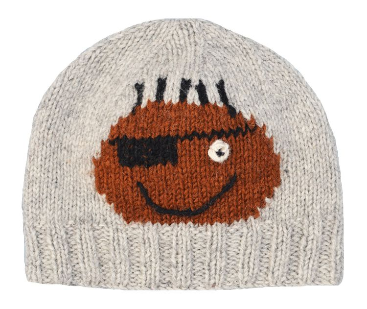 Hand knit   pure wool - face beanie - Percival