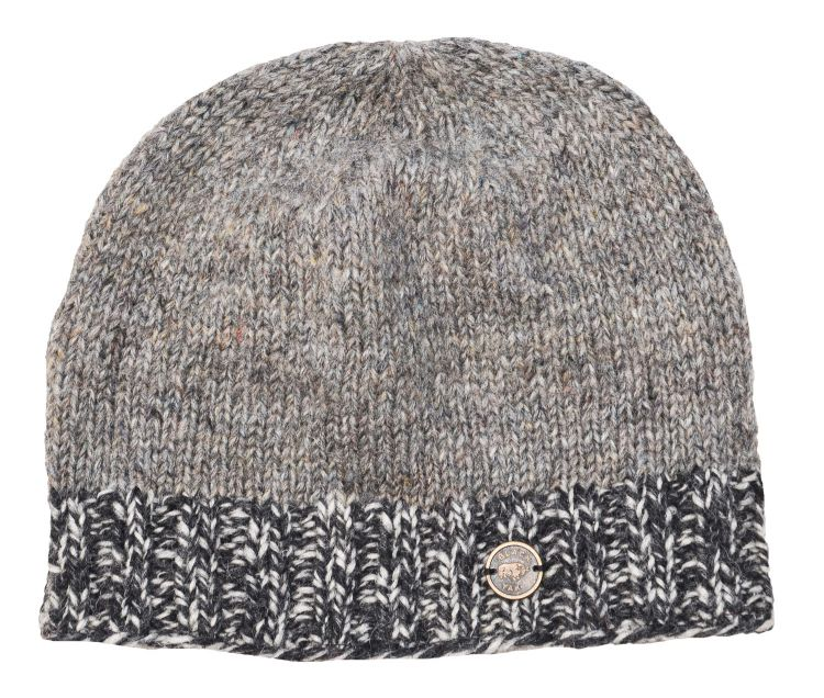 Half fleece lined - Heather mix - two tone edge - beanie - grey mix
