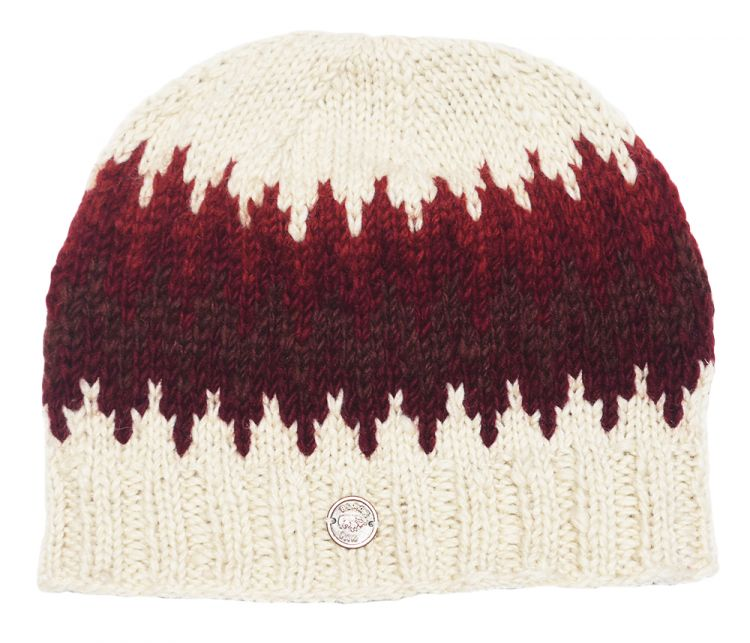 Half fleece lined - zig zag beanie - Rust