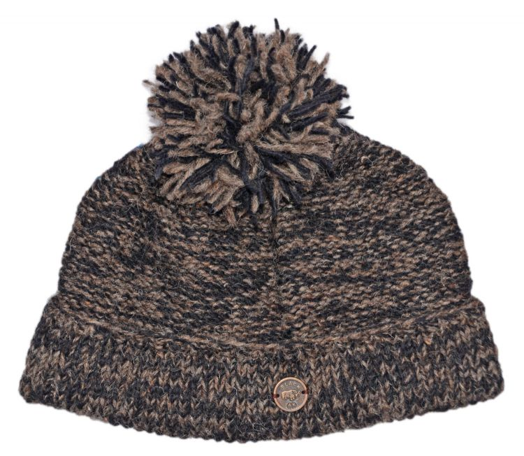 Two tone turn up - bobble hat - black/java