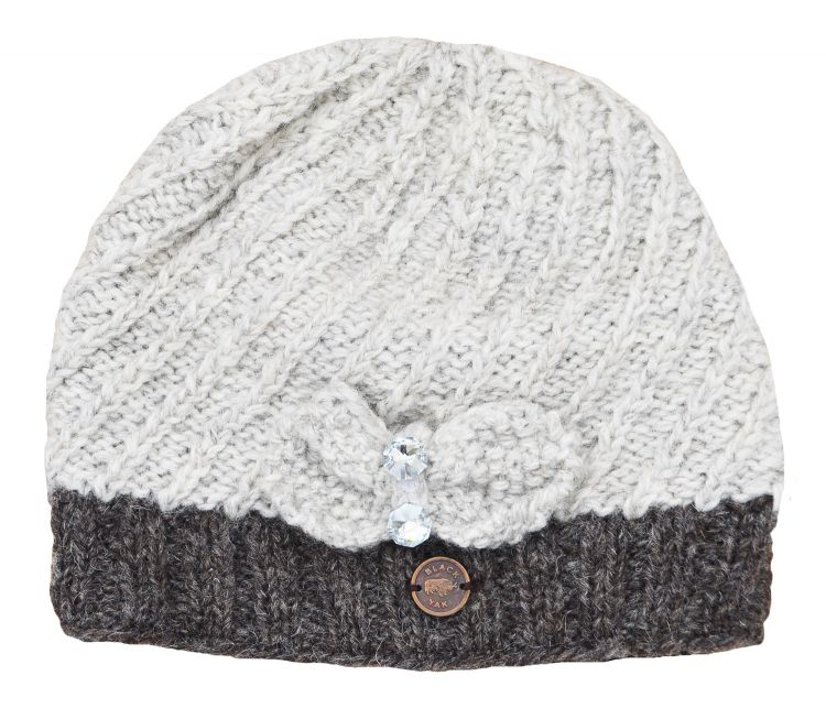Pure wool  - Bow Sparkle Beanie - Pale grey/brown