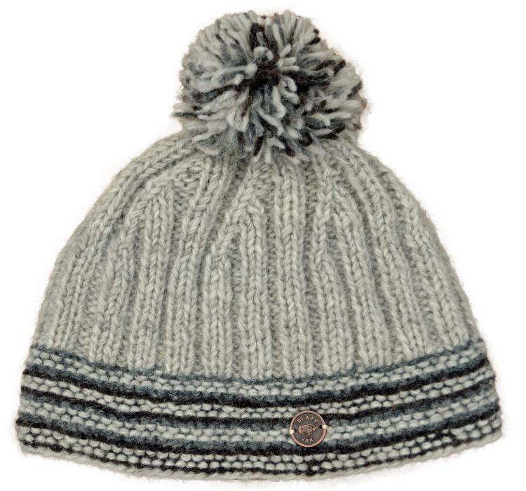 Ribbed bobble hat - pure wool - fleece lining - pale natural grey