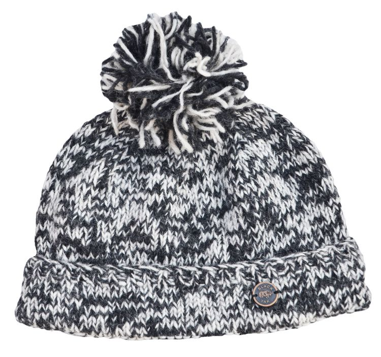 pure wool - two tone bobble hat - greys