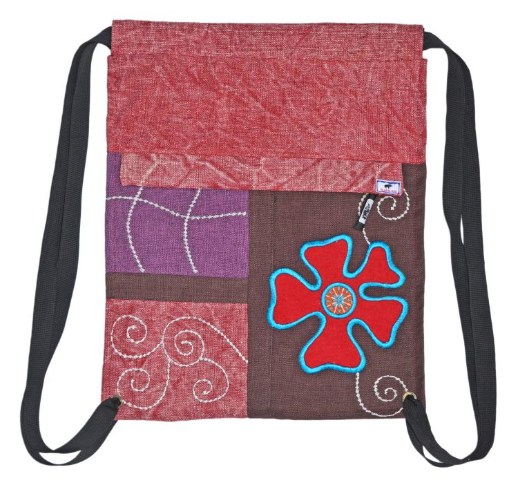 a1d5e5b554 Hand embroidered - heavy cotton duffle bag - pink brown