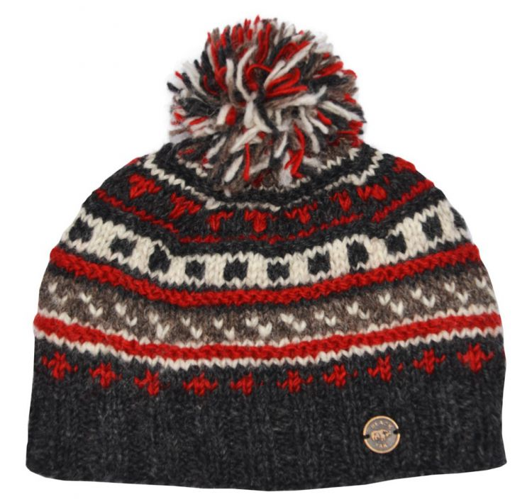 Pattern ridge bobble hat - pure wool - fleece lining - greys / red