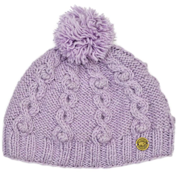 pure wool - cable bobble hat - lilac