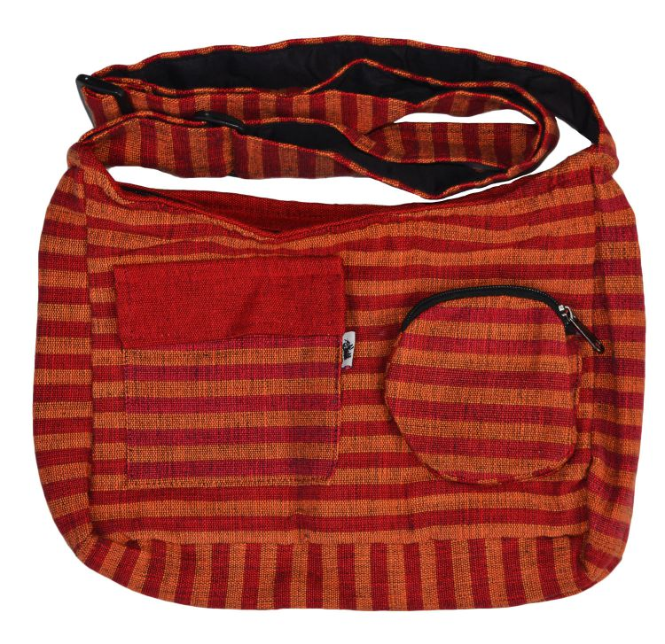 Mid size two tone -  striped multi pocketed bag - spice