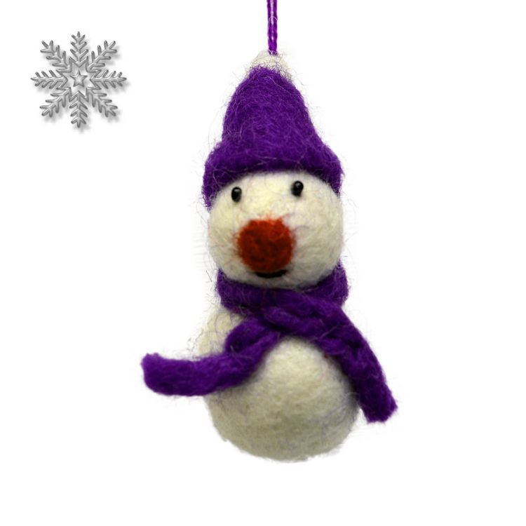 Felt - Christmas Decoration - Snowman - Purple