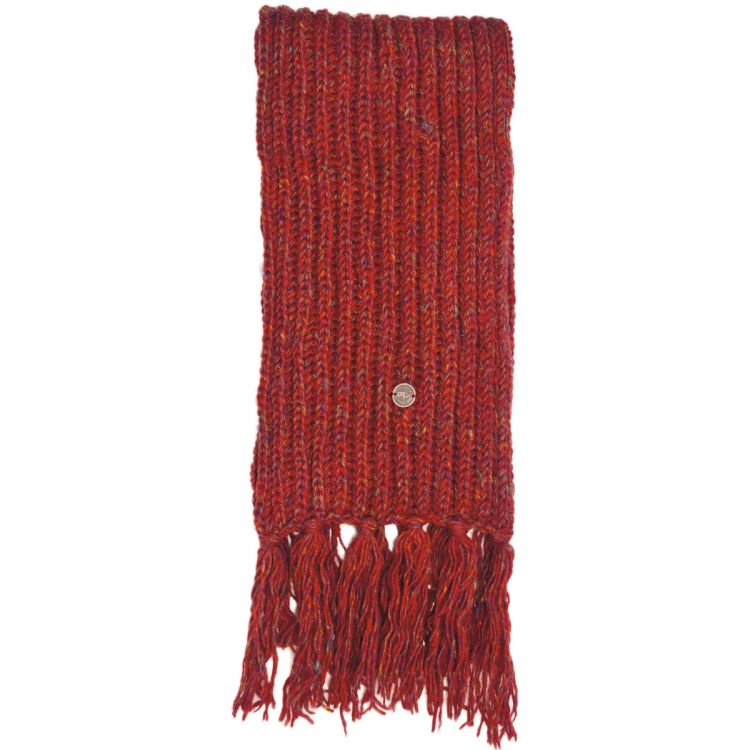 Pure wool - hand knit - heather mix scarf - rust