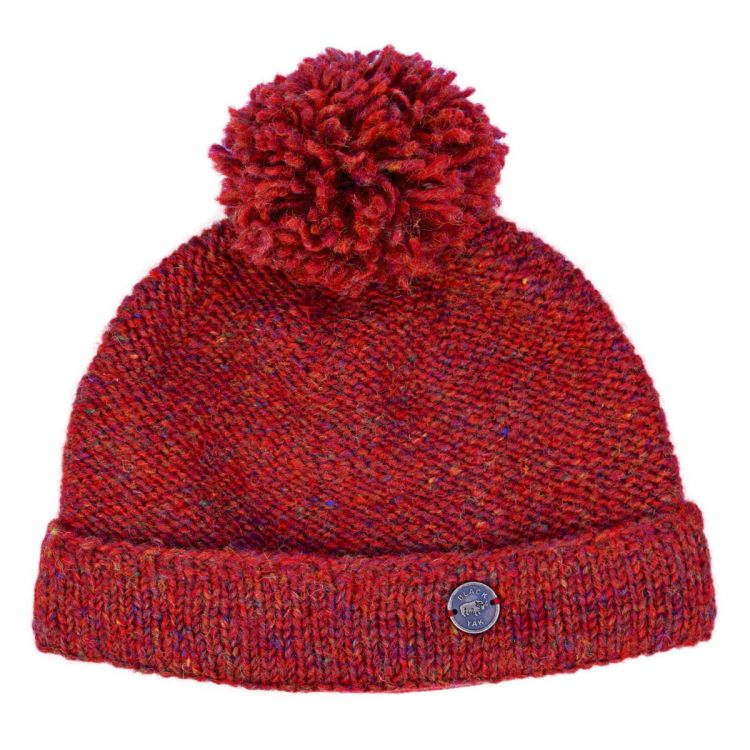Pure wool - turn up bobble hat - rust heather