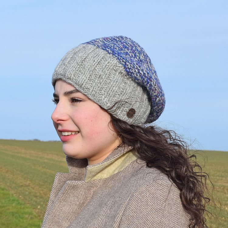 Hand knit - two tone moss - baggy beanie - mid grey/blue heather