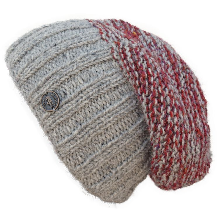 Hand knit - two tone moss - baggy beanie - mid grey/rust heather