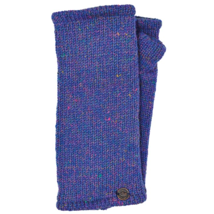 Fleece lined - Wristwarmers - heather mix -  blue