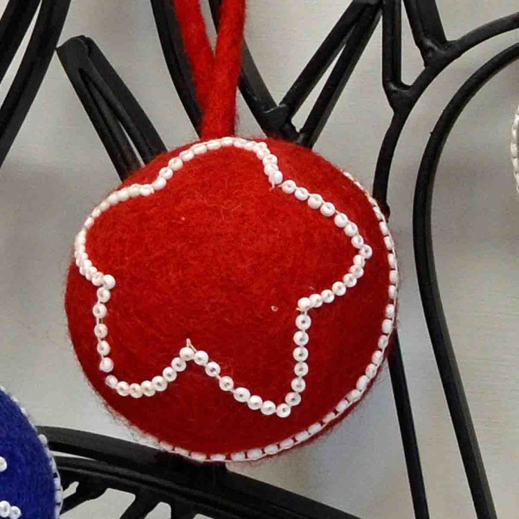 Hand made Felt - Beaded -  Large Christmas Baubles - Red