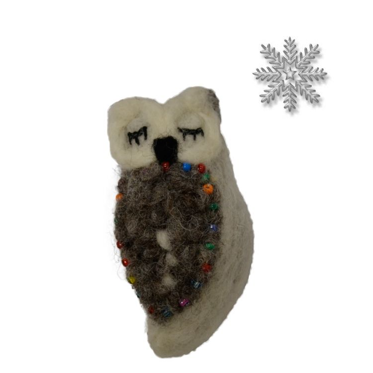 Hand made Felt - Beaded - Christmas owl