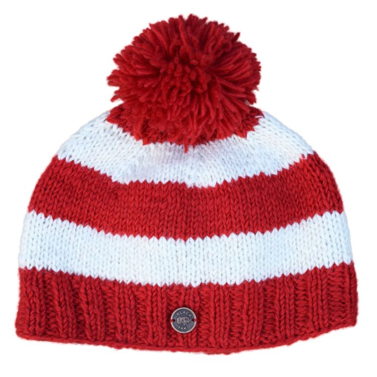 Pure wool - wide stripe bobble hat - red/white