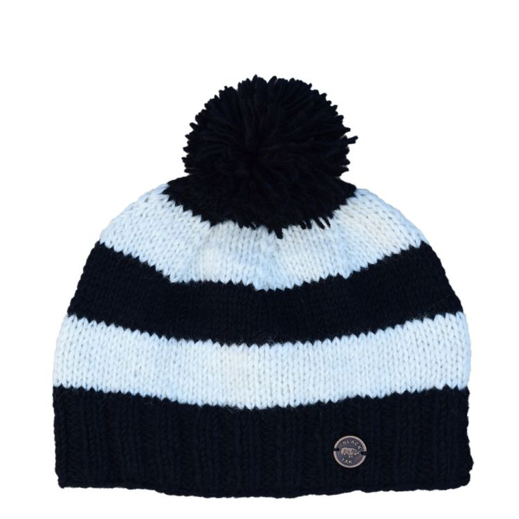Pure wool - wide stripe bobble hat - black/white