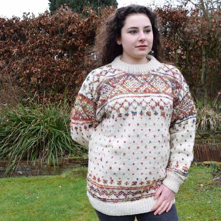 One off wonder - wool and reclaimed silk - diamond and tick pattern jumper - cream