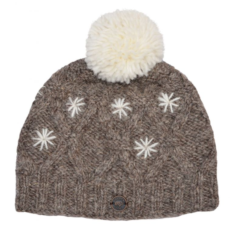 Pure wool - diamond cable bobble hat - Marl brown/White