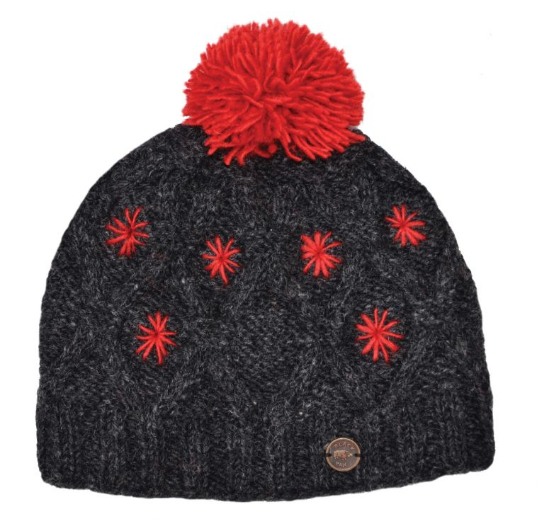 pure wool - diamond cable bobble hat - Charcoal/Red