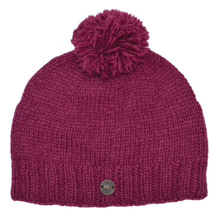 Classic bobble hat - hand knitted - fleece lining - berry