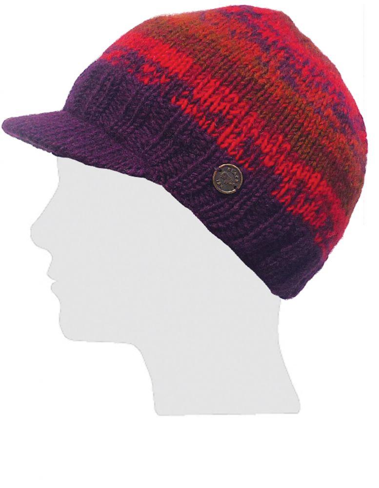 9fda9a22b49 Half fleece lined - pure wool - two tone - peak hat - Reds