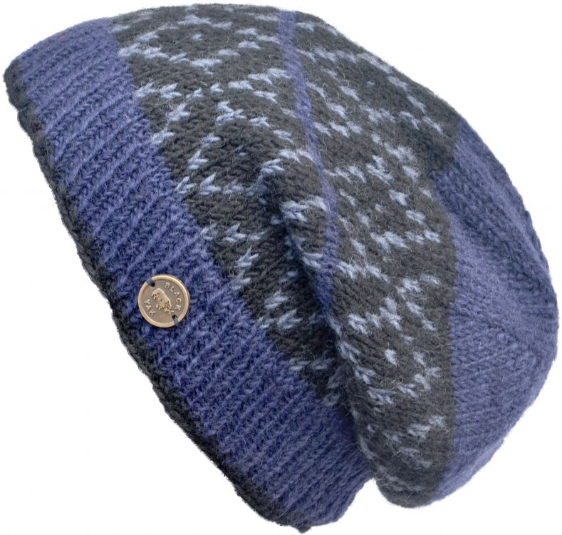 Hand knit - diamond bands - baggy beanie - blue