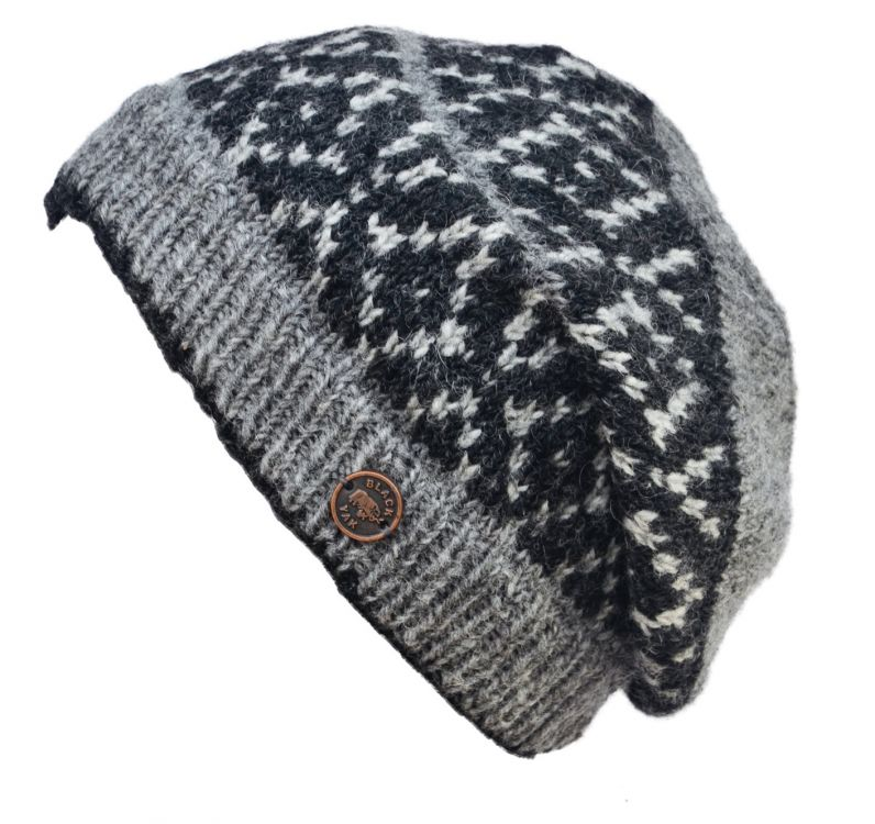 Hand knit - diamond bands - baggy beanie - grey/charcoal
