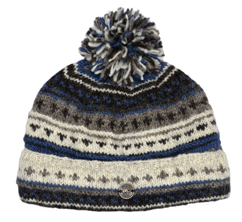 Pattern bobble turn up - hand knitted - pure wool - natural brown / blue