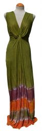 Twist Front Long Dress - Green