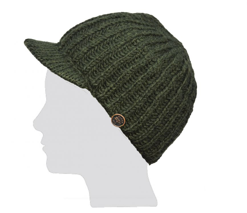 Ribbed peak hat - pure wool - hand knitted - fleece lining - dark green