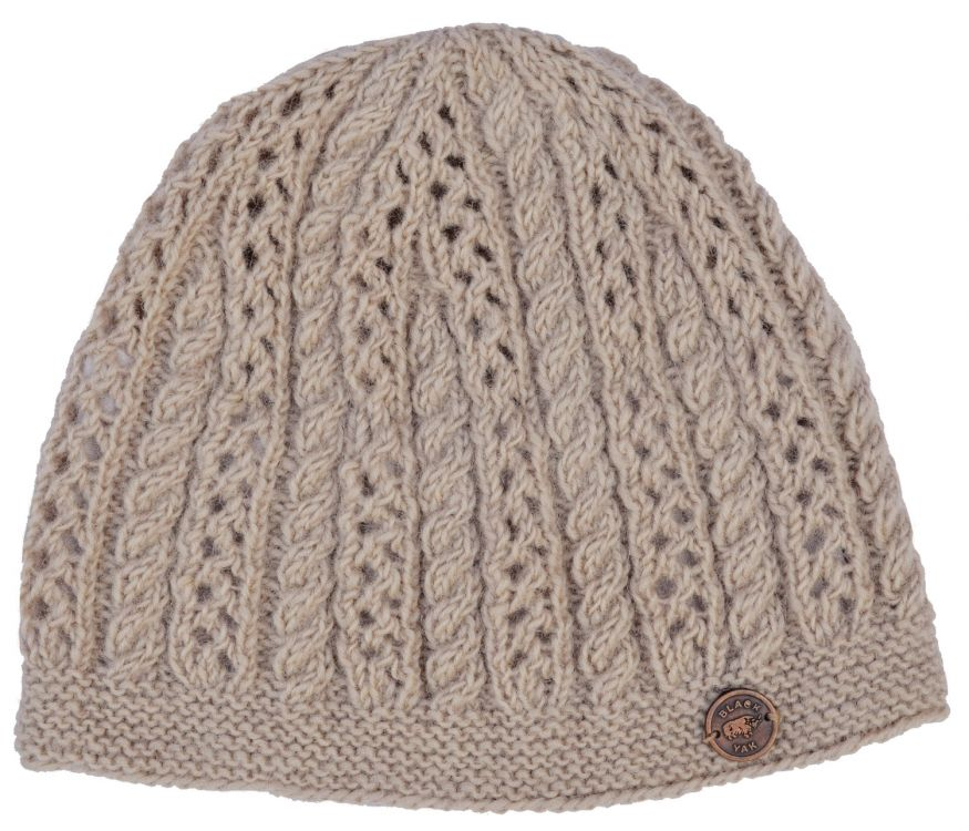 Lace cable beanie - hand knitted - pure wool - ecru
