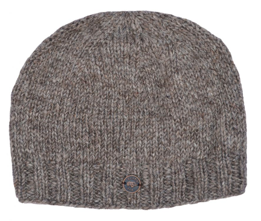 half fleece lined - plain beanie - Marl brown