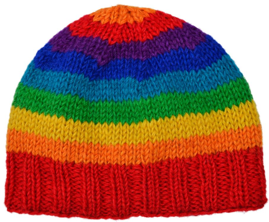 Children's Half fleece lined - stripe - beanie - rainbow