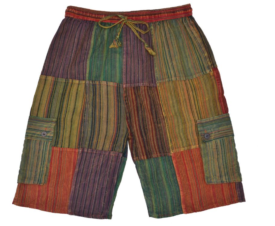 striped cotton shorts - spice multi coloured